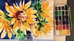Netcurso-aquarell-sonnenblumen-4-varianten