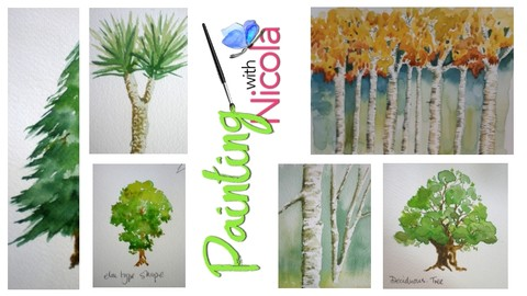 Paint TREES in watercolor,easily. Video demos show you how.