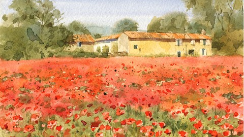 Watercolor painting with Master step-by-step: Poppy field