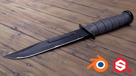 Combat Knife 3D Game Asset in Blender and Substance Painter
