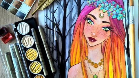 Forest Fairy Watercolor Manga Portrait Painting Course