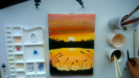 sunset drawing beginners watercolour painting for beginners