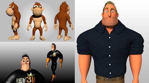 Netcurso-pack-3-en-1-de-personajes-3d-estilo-cartoon-con-maya