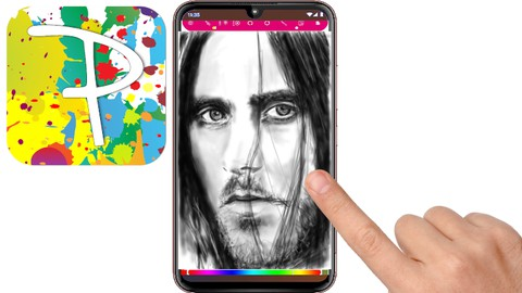 A portrait drawing on a P30 phone using the Paintology app