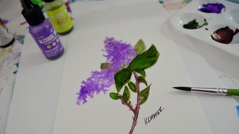 Alcohol Ink on Yupo Easy Steps Paint a Lilac and Sunflower
