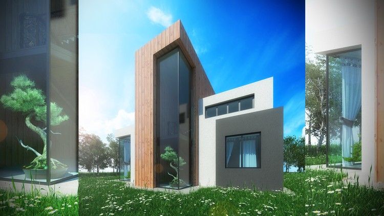 Master 3ds max , v-ray : 3D render house in the Forest