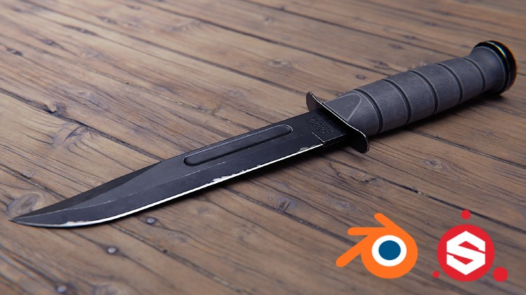Combat Knife 3D Game Asset in Blender and Substance Painter