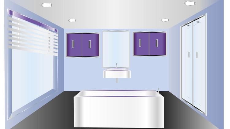 Bathroom interior design in illustrator and Photoshop
