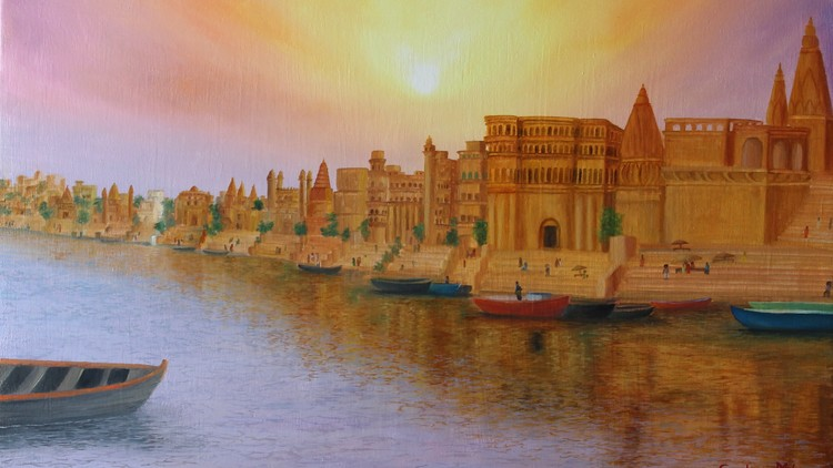 Start Oil painting cityscape, fort, sky, river & reflection